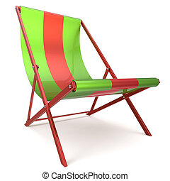 Beach chair green red chaise longue nobody relaxation...