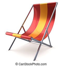 Beach chair chaise longue red yellow nobody relaxation...