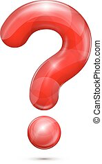 question mark - Red glossy realistic question mark, vector...