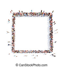 people in the form of a square. - Large group of people in...