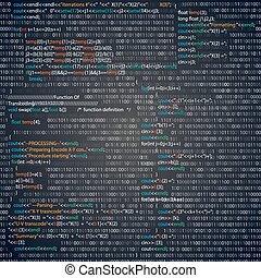 Code - Screenshot with random parts of programm code. Vector...