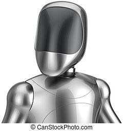 Cyborg robot android futuristic chrome bot character...