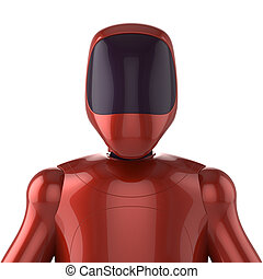 Robot red futuristic cyborg bot android avatar concept -...