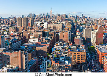 New York City Manhattan skyline aerial view with street and skyscrapers