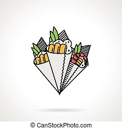 i1016 - Flat color design for set of cone temaki-zushi on...