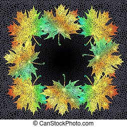 Maple leaves frame - Illustration of colorful maple leaves...