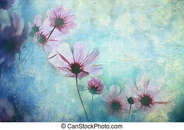 Flowers grunge - Photo of a flowers pasted on a grunge...
