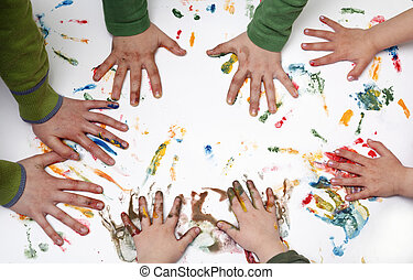 children hand - Colorful children hand print on the...