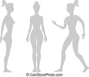 Vector silhouette  woman on a white background.