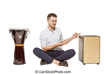 Cajon worse than djembe - The guy between the djembe and...