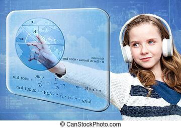 Girl calculating earth radius on digital screen - Close up...