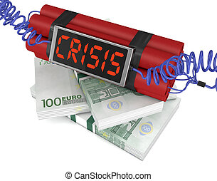 concept of economic crisis - time bomb with stacks of...