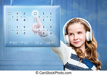Girl touching futuristic digital screen. - Close up portrait...