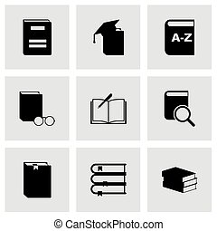 Vector black schoolbook icon set on grey background