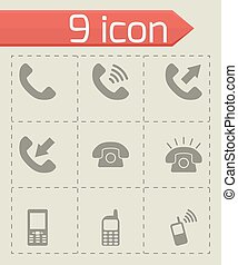 Vector black telephone icon set
