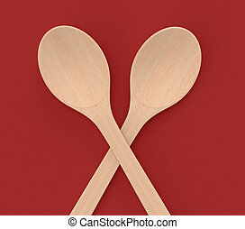 wooden spoon - two wooden spoons on a red background (3d...