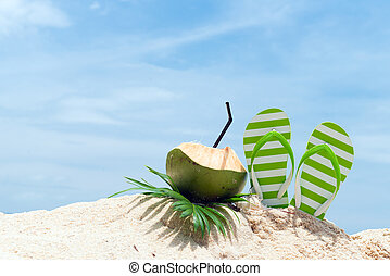 Summer beach - Pair of green striped sandal and coconut...