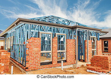 nuevo, hogar, construcción, encuadrado,