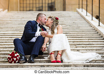 Young wedding couple - Beautiful wedding couple outside the...