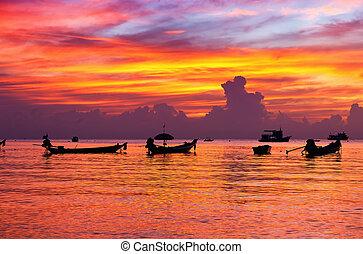beautiful sunset on the beach. Krabi, Thailand