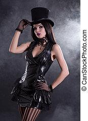 Cabaret girl in fetish dress and tophat - Cabaret girl in...