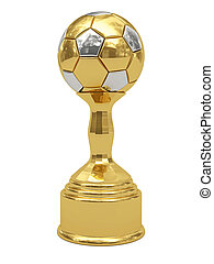 Golden soccer ball trophy on pedestal