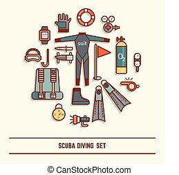 scuba diving icon set