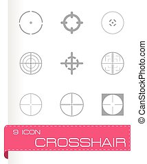 Vector crosshair icons set on grey background