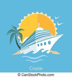 Cruise Ship. Water Tourism. - Cruise ship in clear blue...