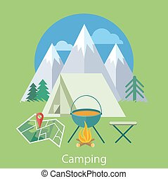 Camping Concept - The Camping tent near the fire and...