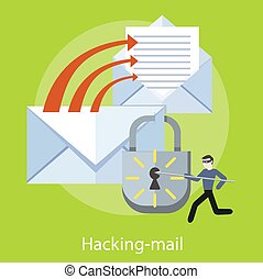Hacking and e-mail spam - Hacker activity viruses hacking...