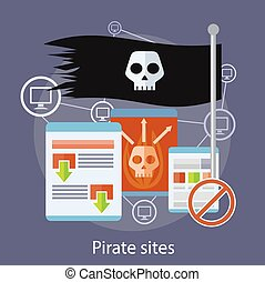 Pirate Sites Concept - Homepage of pirate sites with flag...