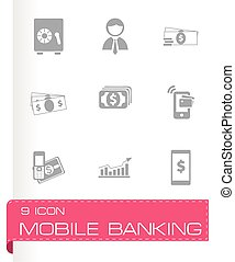Vector mobile banking icons set on grey background