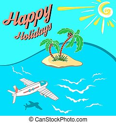 HappyHolidays - Hand drawn illustration. Airplane flying...