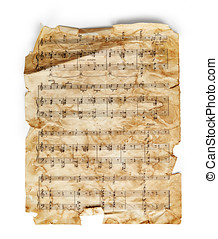 Music sheet - Vintage music sheet isolated on white...