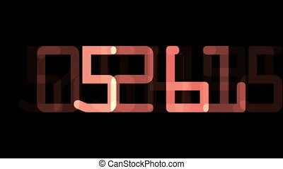 Digital countdown timer in red color over black background.