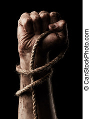 Male hand with rope Conception aggression - Male hand with...