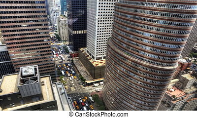 Aerial view of Traffic in Manhattan - Aerial view of Traffic...