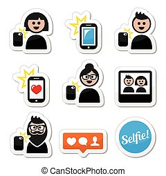 Man, woman taking selfie icons