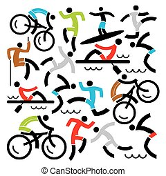 Outdoor sports icons background - Decorative Background with...