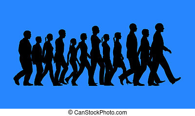 Group of people walking silhouettes isolated on blue...