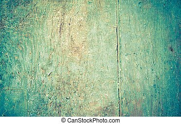 closeup of old wood planks texture background, with blue...