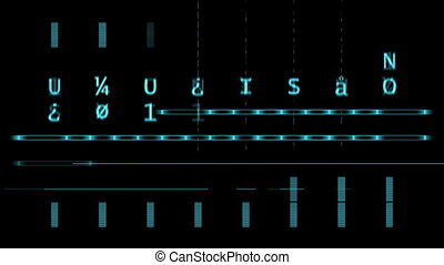 Blue lines, letters on the digital black screen - Blue...