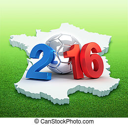 France 2016 - 2016 year illustrated with a silver soccer...