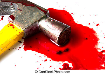 A close-up of a bloody hammer and small blood pool isolated...