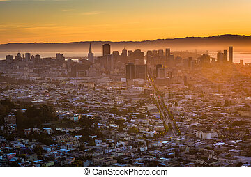 View of downtown at sunrise from Twin Peaks, in San Francisco, California.