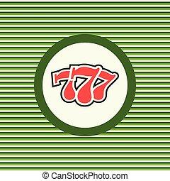 Casino three sevens color flat icon