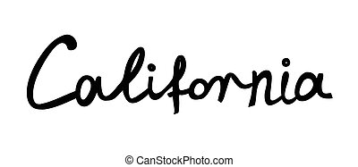 Hand-written word CALIFORNIA, lettering Vector illustration