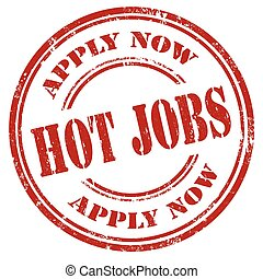 Hot Jobs-stamp - Grunge rubber stamp with text Hot...