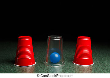 Blue Ball Hidden Under Clear Cup - Life is easy when you...